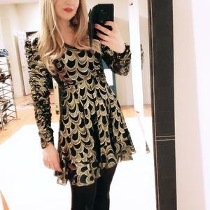 Aqua exclusive black gold bloomingdales dress xs